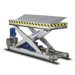 Electric screw jack-operated lift table, linear movement.