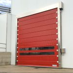 Foldsystem high-speed door in stainless steel.