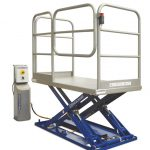 MSAP-12-11,5/09. Low profile lift table with bottom part in painted steel and top in stainless steel. Safety handrails with kick plates and access door with safety blocking.
