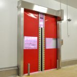 Speedsystem high-speed door in stainless steel.