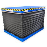 Lift table with safety bellows cover on 1, 2, 3 or 4 sides.