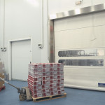 Stainless steel Quicksystem® doors in the meat industry.